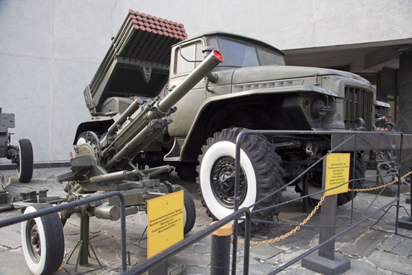 Military truck with rockets on display outside a museum dedicated to international wars of the Soviet era | History of Great Patriotic War museum | Ukraine