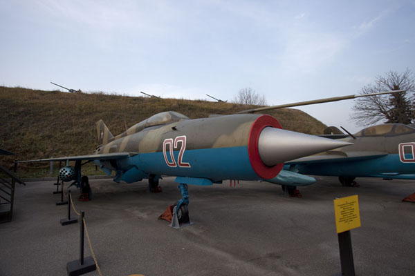 Picture of History of Great Patriotic War museum (Ukraine): Fighter jet, part of a larger display of military might