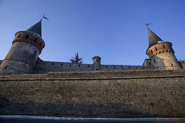Looking up wall and towers of the fortress of Kamyanets-Podilsky | Kamyanets-Podilsky fortress | Ukraine