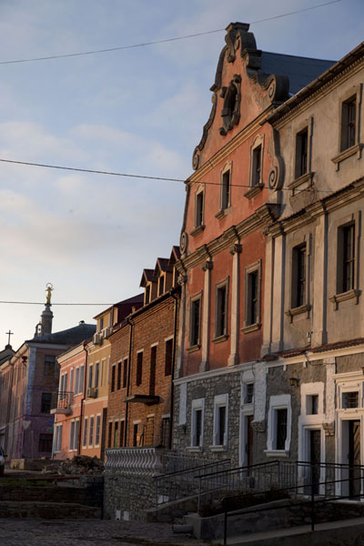 Row of houses on the northern side of the Polish market square | Kamyanets-Podilsky old town | Ukraine