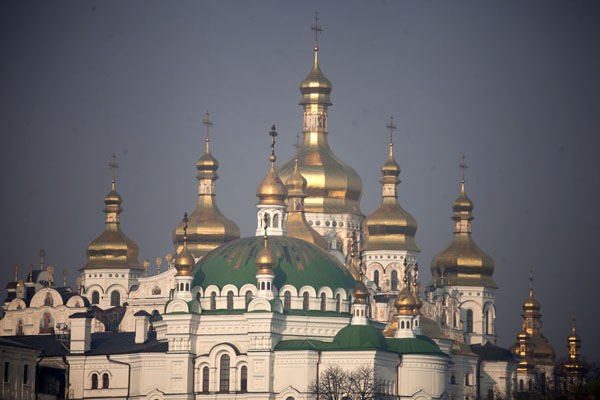 The golden cupolas and domes of the Refectory Church and the Dormition Cathedral seen from the Lower Lavra | Kyiv Pechersk Lavra | Ukraine