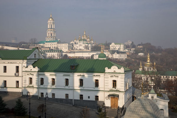 View from the Church of the Nativiity of the Virgin towards the Upper Lavra, with the Great Bell Tower | Kyiv Pechersk Lavra | Ukraine