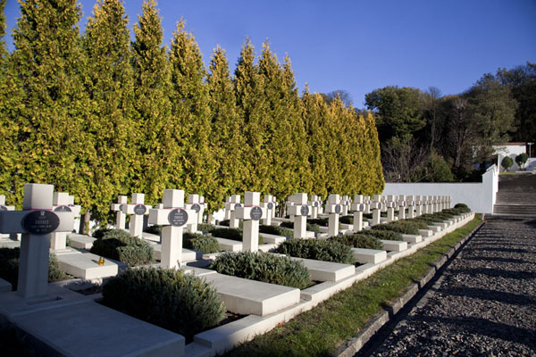 Foto van Row of graves in the morning sun at the Cemetery of the Defenders of LvivDili - Oekraïne