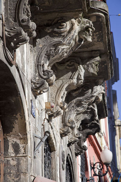 Picture of Balcony supported by sculptures on the northern side of Market SquareLviv - Ukraine