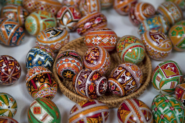 Basket with painted eggs | Pysanka Museum | Ukraine