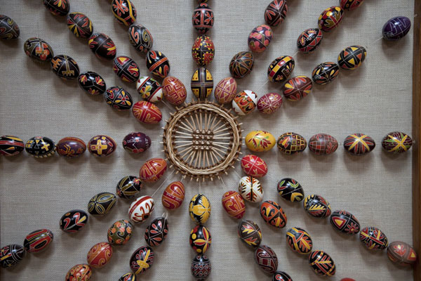 Strings of easter eggs on a wall of Pysanka Museum | Pysanka Museum | Ukraine