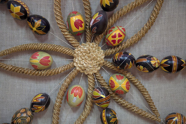 Strings of painted eggs on one of the walls of the museum | Pysanka Museum | Ukraine