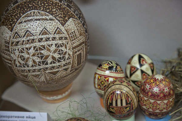 Painted eggs in different sizes on display | Pysanka Museum | Ukraine