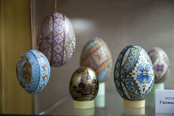 Looking into one of the showcases with easter eggs | Pysanka Museum | Ukraine