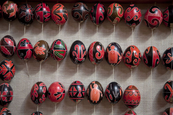 Rows of red-and-black eggs in the museum | Pysanka Museum | Ukraine