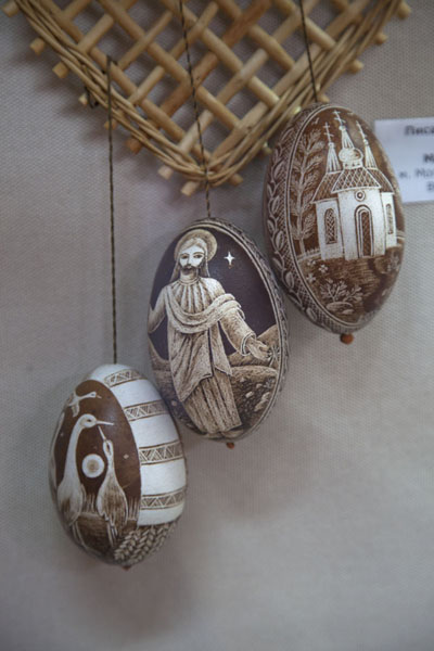 Three eggs with religious theme in the museum | Pysanka Museum | Ukraine