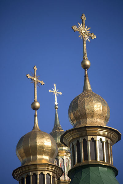 Close-up of three golden cupolas of Saint Sophia cathedral | Cattedrale di Santa Sofia | Ucraina