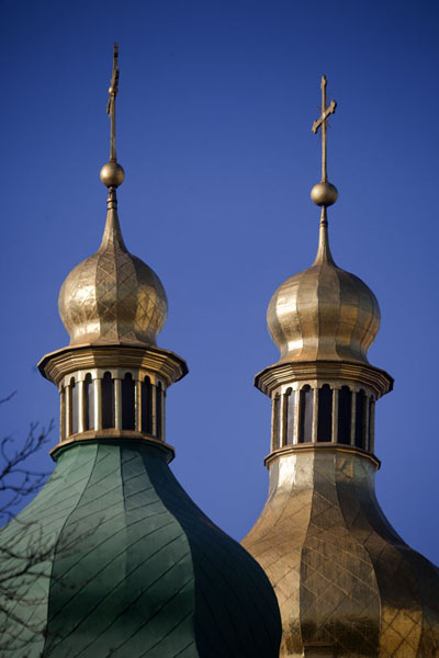 Picture of Saint Sophia Cathedral (Ukraine): The golden and green cupolas of Saint Sophia cathedral contrasting with a perfectly blue sky