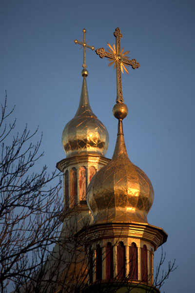 The golden cupolas with crosses in the late afternoon sun | Cathédrale de Sainte Sophie | Ukraine