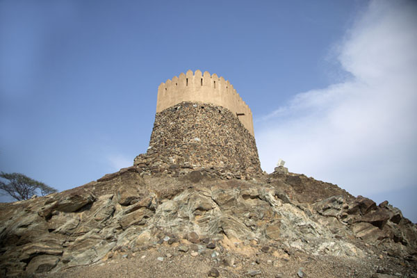 Foto van Looking up Bidya Fort from belowBidya - Verenigde Arabische Emiraten