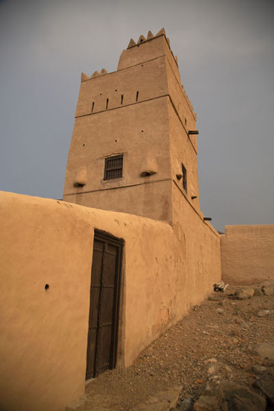 Picture of Al-Hayl Fort (United Arab Emirates): Looking up the residential tower from outside the castle wall