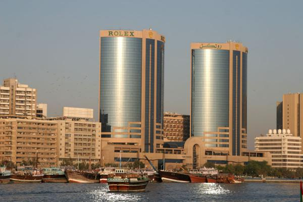 Picture of Dubai modern architecture (United Arab Emirates): Skyline of Dubai Creek defined by two skyscrapers