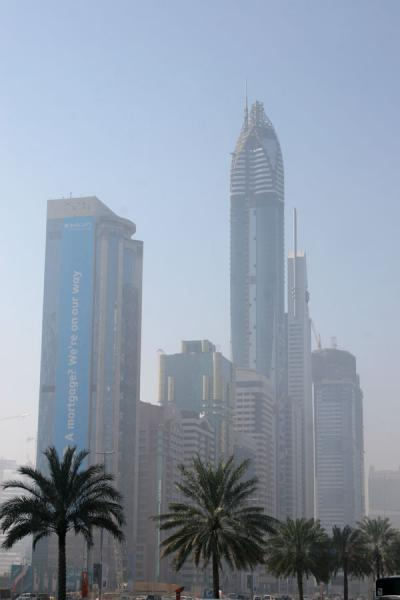Picture of Dubai modern architecture (United Arab Emirates): Sheikh Zayed Road: skyscrapers in the early morning