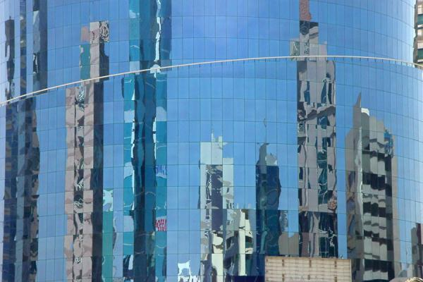 Picture of Dubai modern architecture (United Arab Emirates): Modern buildings reflected