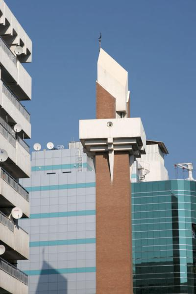 Image of Minaret of modern mosque in Deira, Dubai, Dubai, United Arab Emirates