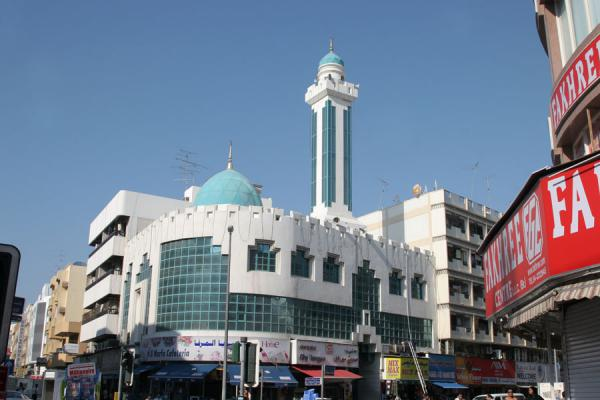 Picture of Dubai mosques (United Arab Emirates): Modern mosque on a corner in a modern city, Deira in Dubai