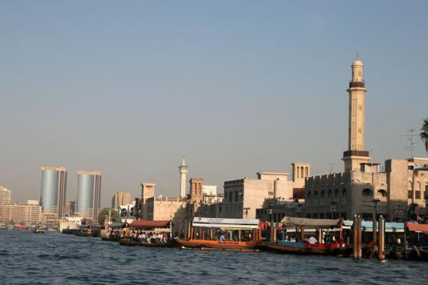 Picture of Dubai mosques (United Arab Emirates): Dubai Creek with modern architecture and mosque