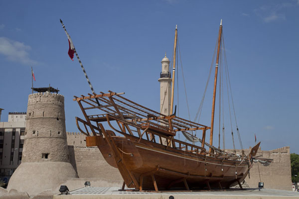 Picture of Dhow on display outside the Al Fahidi Fort in which the Dubai Museum is located - United Arab Emirates - Asia