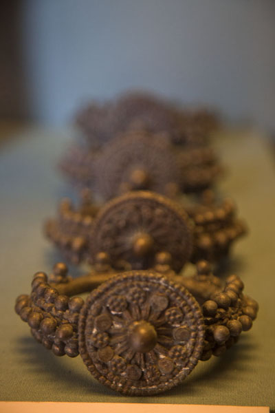 Row of bracelets on display in the museum | Dubai Museum | United Arab Emirates