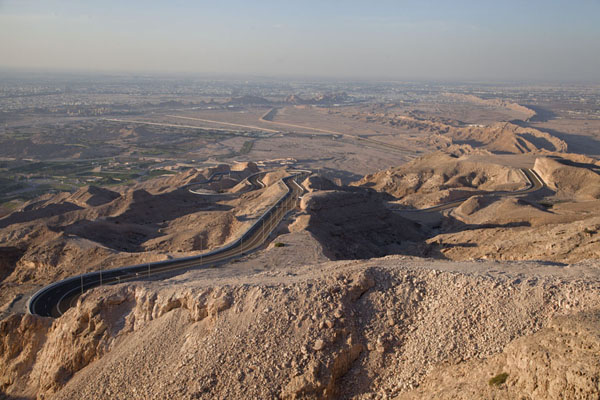 Picture of Jebel Hafeet (United Arab Emirates): Mountain road at the lower part of Jebel Hafeet with Al Ain in the background