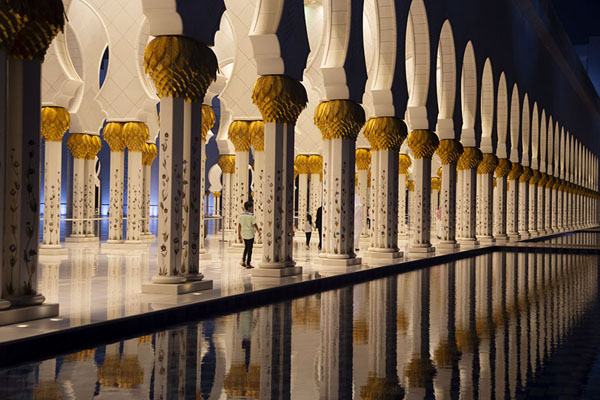 Row of columns and cupolas reflected in a pool on the east side of the Grand Mosque of Sheikh Zayed | Sheikh Zayed Grand Mosque | Verenigde Arabische Emiraten