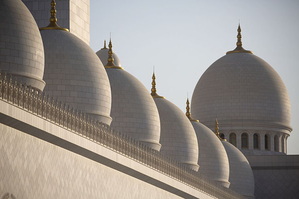 The west side of the mosque with a row of domes | Gran moschea dello Sceicco Zayed | Emirati Arabi Uniti