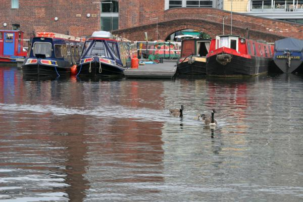 Boats lying in the Gas St Basin harbour, Birmingham | Birmingham | le Royaume-Uni