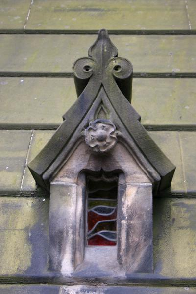 Detail of window in one of the old roofs of Edinburgh | Edinburgh Old Town | United Kingdom