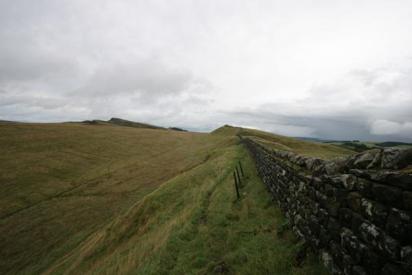 Hadrian's wall defining the landscape until the horizon | Hadrian's Wall | United Kingdom