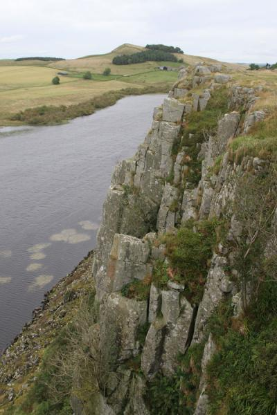 Steep cliffs and lake Crag Lough, looking east | Hadrian's Wall | United Kingdom