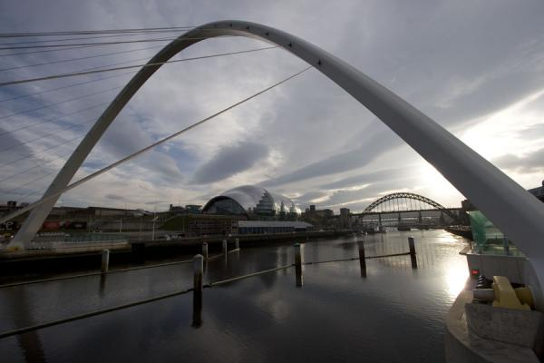Looking upriver from the Gateshead Millennium Bridge | Newcastle Bridges | United Kingdom