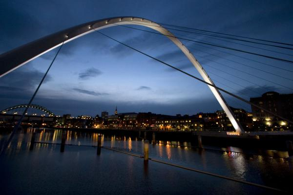 Dusk over Newcastle seen through Gateshead Millennium Bridge | Newcastle Bridges | United Kingdom