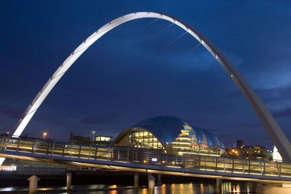 Gateshead Millennium Bridge and Sage Gateshead Musical Centre at dusk | Newcastle Bridges | United Kingdom