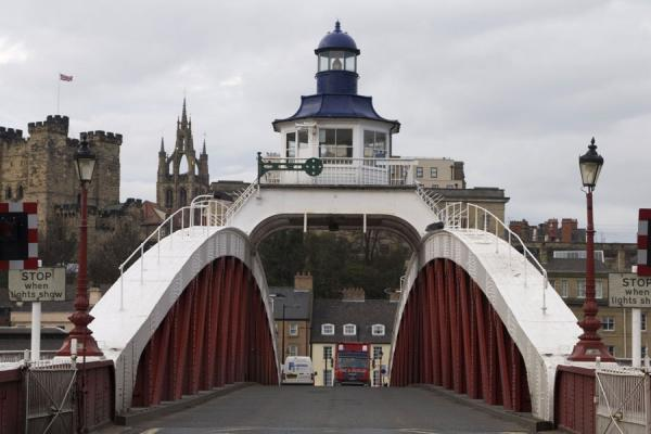 Swing Bridge with remarkable lighthouse on top, Castle and Cathedral in the background | Newcastle Bridges | United Kingdom