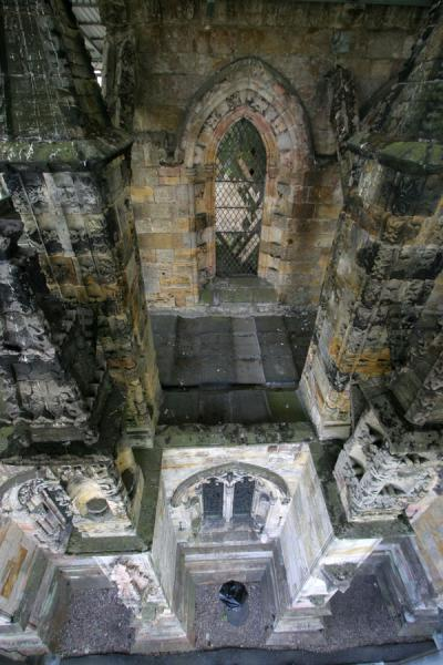 Looking down exterior of Rosslyn Chapel | Rosslyn Chapel | United Kingdom