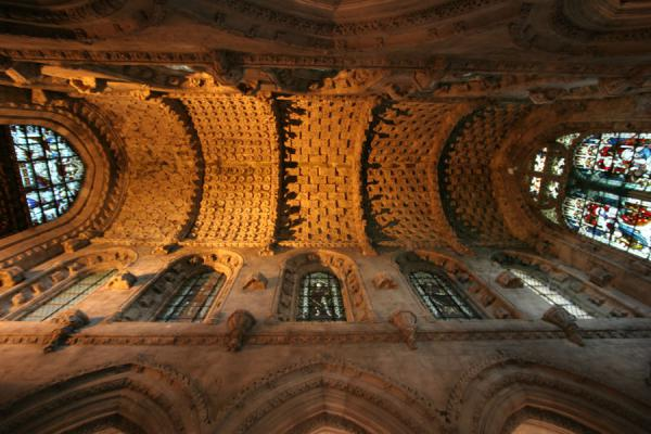 Looking up the intricately carved ceiling of Rosslyn Chapel | Rosslyn Chapel | United Kingdom