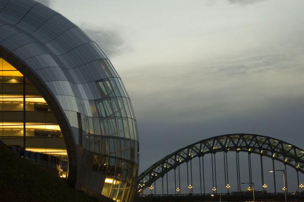 Sage Gateshead at dusk with Tyne Bridge in the background | Sage Gateshead | United Kingdom