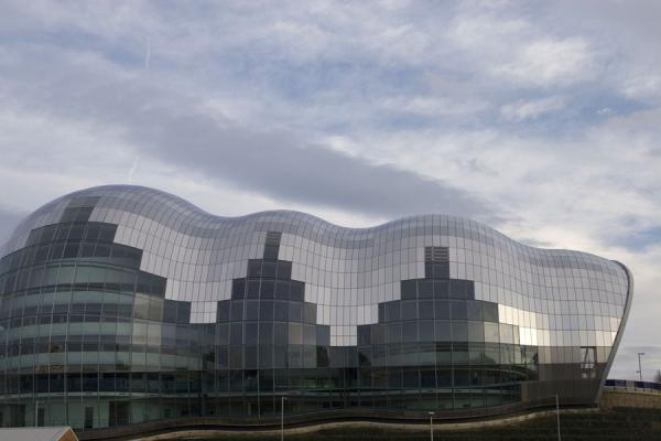 Picture of Sage Gateshead musical theatre lying like a slug on the banks of the river Tyne