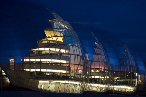 Night view of the Sage Gateshead with coloured lights from inside | Sage Gateshead | United Kingdom