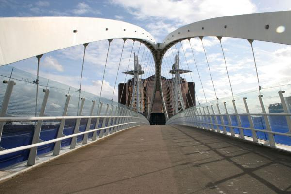 Lowry Footbridge linking both sides of the Manchester Ship Canal | Salford Quays | United Kingdom