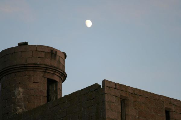 Tower of Slains Castle with moon | Slains Castle | United Kingdom