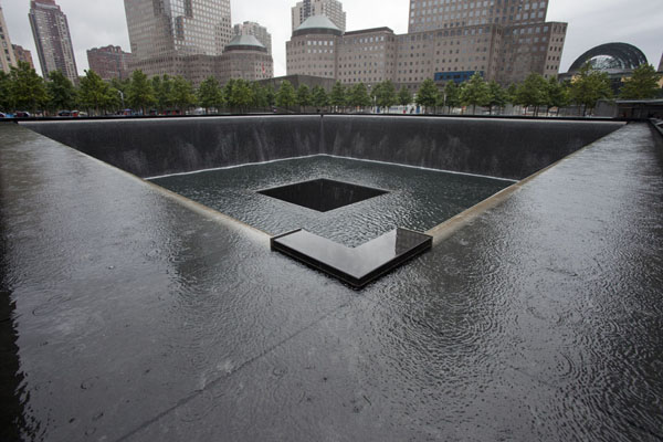 Picture of 9/11 Memorial (U.S.A.): The North Pool on a rainy day