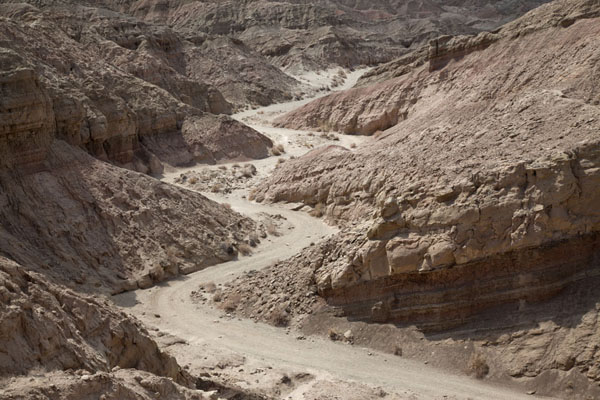 Picture of Anza-Borrego Desert State Park (U.S.A.): Wide section of canyon of the Slot with track