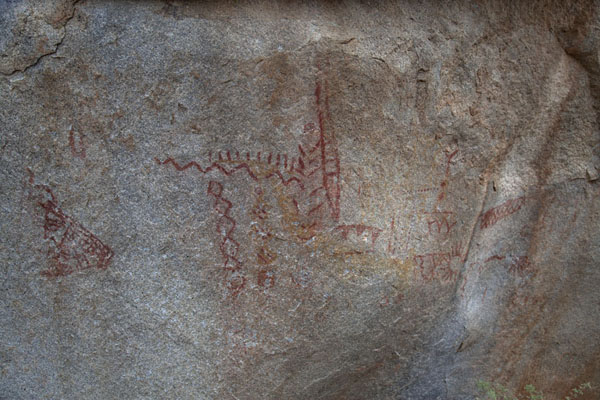 Picture of Anza-Borrego Desert State Park (U.S.A.): Age-old Indian pictographs on a boulder in Anza-Borrego