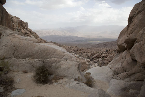 Picture of Anza-Borrego Desert State Park (U.S.A.): nLooking out over Smuggler's Canyon ad beyond from the edge of a dry waterfall